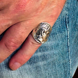 Men's Sterling Silver Alexander the Great Tetradrachm Ring - BikeRing4u