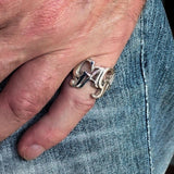 Excellent Crafted Mad Men's Sterling Silver Gaga Ring - BikeRing4u