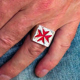Nicely crafted Men's Knight Ring Maltese Cross Red - Sterling Silver - BikeRing4u