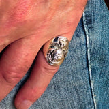 Excellent crafted Men's Marine's Military Ring - Sterling Silver - BikeRing4u