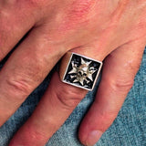 Excellent crafted Men's Pirate Skull Ring Black Maltese Cross - Sterling Silver - BikeRing4u