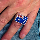 Perfectly crafted Men's Ring Flag of Australia - Sterling Silver - BikeRing4u