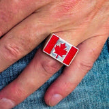 Perfectly crafted Men's Ring Flag of Canada - Sterling Silver - BikeRing4u