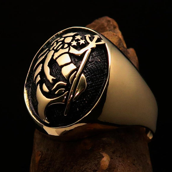 Excellent crafted Men's Aquarius Ring antiqued Zodiac - Solid Brass - BikeRing4u
