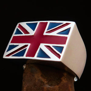 Perfectly crafted Men's Union Jack Flag Ring UK Great Britain - Sterling Silver - BikeRing4u