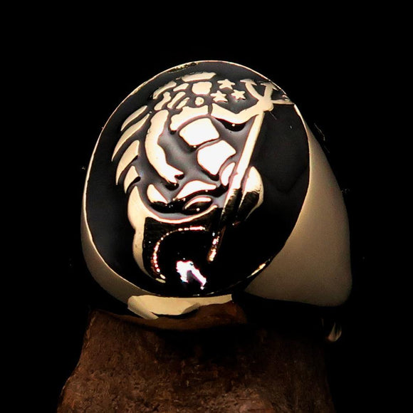 Excellent crafted Men's Aquarius Ring Black Zodiac - Solid Brass - BikeRing4u