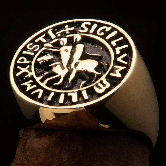 Excellent crafted Men's Templar Knight Seal Ring antiqued - Solid Brass - BikeRing4u