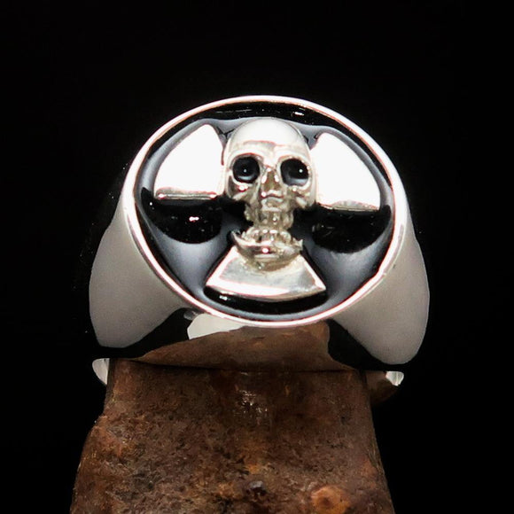 Excellent crafted Men's Radioactive Skull Ring black - Sterling Silver - BikeRing4u