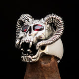 Excellent crafted Men's Biker Ring Devils Ram Skull red CZ Eyes Sterling Silver 925 - BikeRing4u