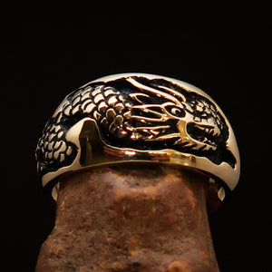 Excellent crafted Men's Band Ring Dragon Snake Antiqued - Brass - BikeRing4u