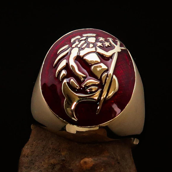 Excellent crafted Men's Aquarius Ring Red Zodiac - Solid Brass - BikeRing4u