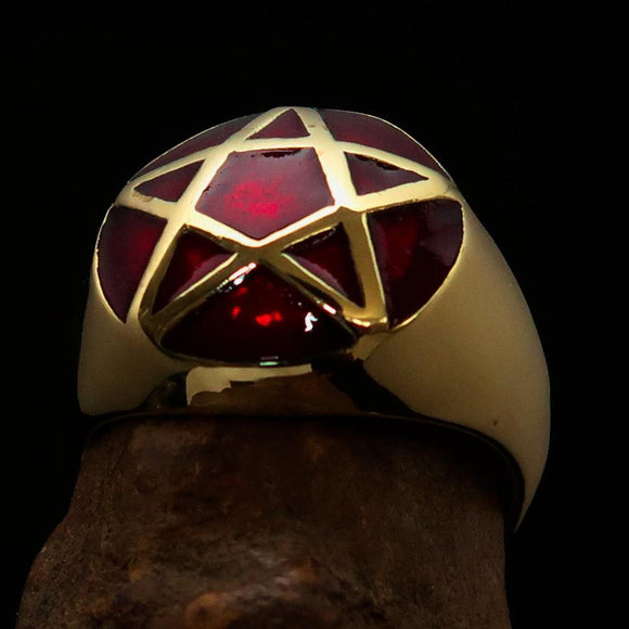 Perfectly domed Men's Solid Line Pentagram Ring Red - Brass - BikeRing4u