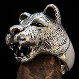 Excellent crafted Men's Animal Ring Lioness blue Sapphire Eyes Sterling Silver 925 - BikeRing4u