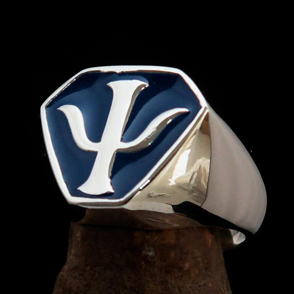 Perfectly crafted Men's Greek Letter Ring PSI Trident Symbol Blue - Sterling Silver - BikeRing4u