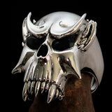 Excellent crafted Men's Biker Ring Vampire Skull blue Sapphire Eyes Sterling Silver 925 - BikeRing4u