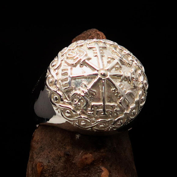 Excellent crafted Men's Viking Sterling Silver save Journey Ring - BikeRing4u