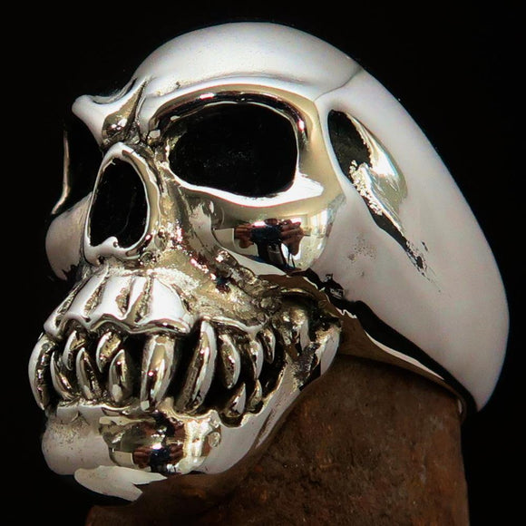 Excellent crafted Men's Cannibal Ring Zombie with Fangs - Sterling Silver - BikeRing4u