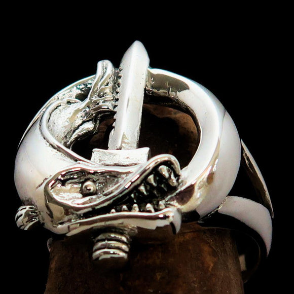 Excellent crafted Fish and Sword Combat Diver Ring - Sterling Silver - BikeRing4u