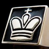 Perfectly crafted Men's Chess Player Ring King's Crown Black - Sterling Silver - BikeRing4u