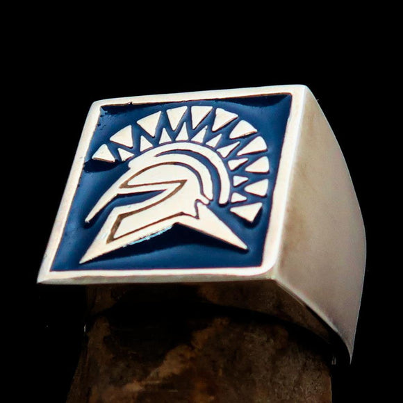 Nicely crafted domed Men's Spartan Ring Blue Greek Warrior - Sterling Silver - BikeRing4u