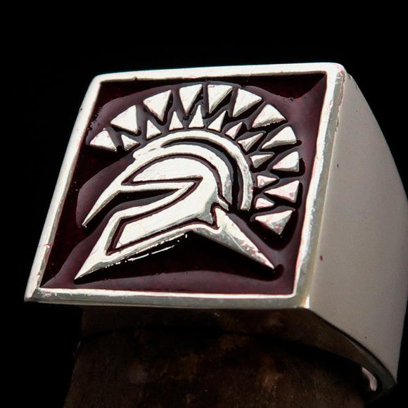 Nicely crafted domed Men's Spartan Ring Red Greek Warrior - Sterling Silver - BikeRing4u