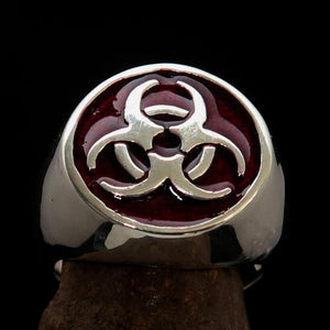 Nicely crafted domed Men's Bio Hazard Ring Red Toxic Waste Symbol - Sterling Silver - BikeRing4u