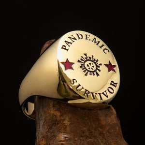 Excellent crafted Men's Brass Costume Ring Pandemic Survivor - BikeRing4u