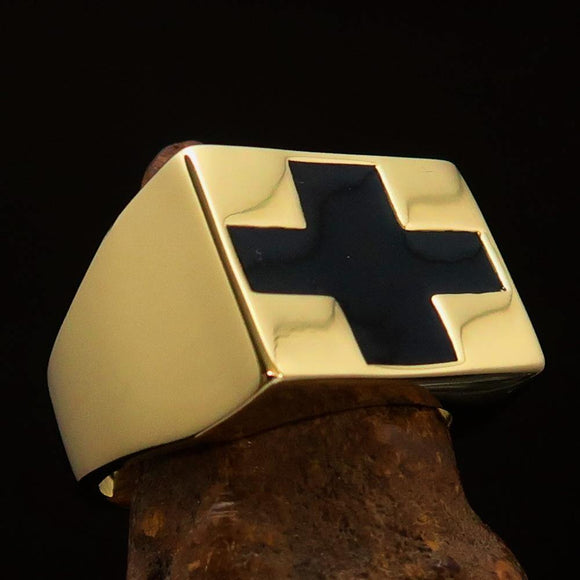 Perfectly crafted Men's Black Cross Ring - Solid Brass - BikeRing4u