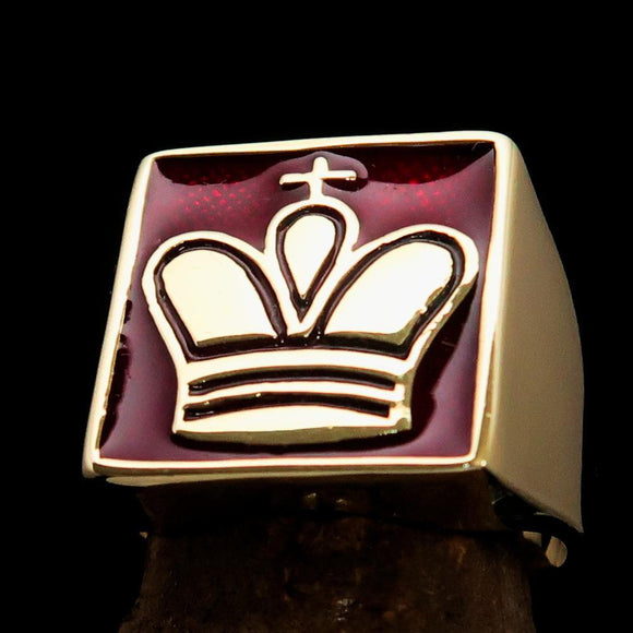 Perfectly crafted Men's Chess Player Ring Red King's Crown - Solid Brass - BikeRing4u