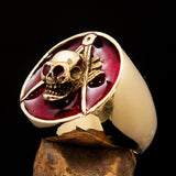 Perfectly crafted Men's Masonic Skull Ring Red - Solid Brass - BikeRing4u