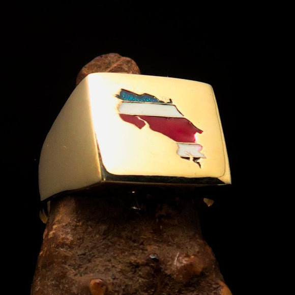Excellent crafted Men's Costa Rican National Flag Ring Costa Rica - Solid Brass - BikeRing4u