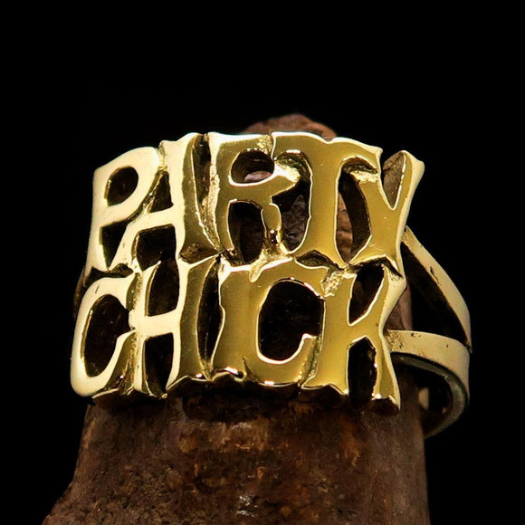 Excellent Crafted Word Ring Party Chick - solid Brass - BikeRing4u