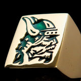 Perfectly crafted Men's Ring Viking Warrior Green - Solid Brass - BikeRing4u