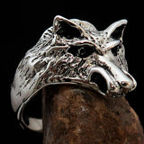 Excellent crafted Men's Animal Ring Male Coyote Sterling Silver 925 - BikeRing4u