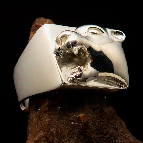 Excellent crafted Men's Animal Signet Ring Panther Sterling Silver 925 - BikeRing4u