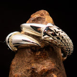 Excellent crafted Men's Medieval Ring Dragon Claw - Mirror Polished Sterling Silver - BikeRing4u