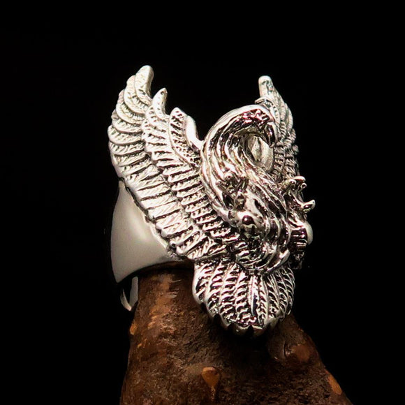 Excellent crafted Men's Eagle Ring spread Wings - Sterling Silver - BikeRing4u