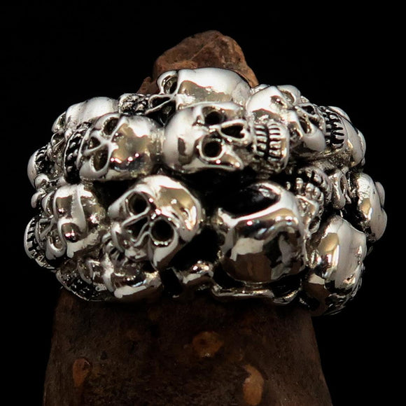 Men's Sterling Silver Biker Ring 13 Skulls Graveyard Party - BikeRing4u
