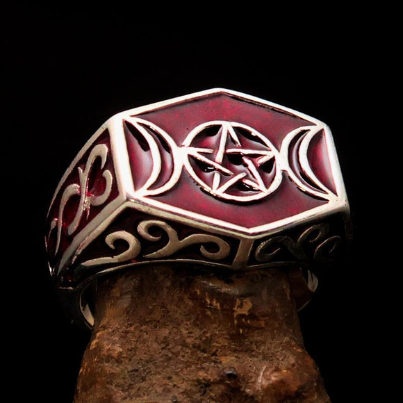 Men's Sterling Silver Ring Red Crescent Moon Pentagram Star - BikeRing4u