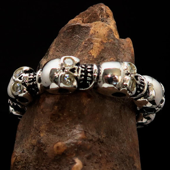 Men's Sterling Silver Band Ring 6 small Skulls with white CZ Eyes - BikeRing4u