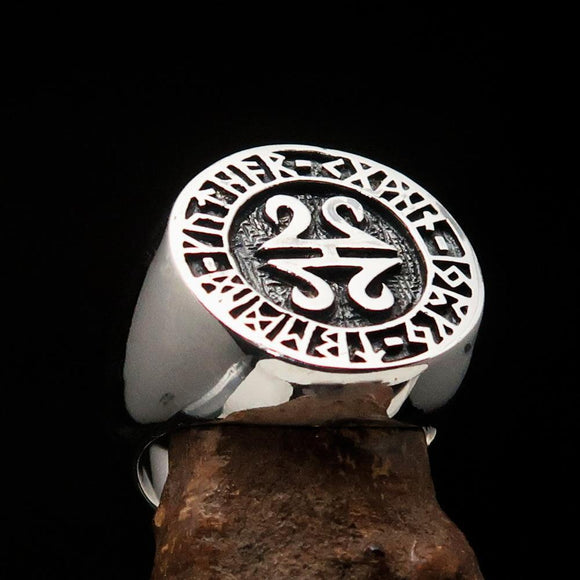 Nicely crafted Men's ancient Viking Runes Ring Antiqued - Sterling Silver