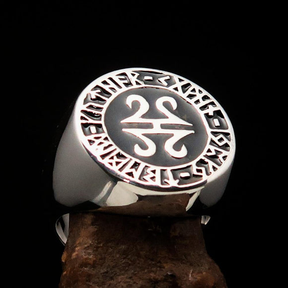 Nicely crafted Men's ancient Viking Runes Ring Black - Sterling Silver - BikeRing4u