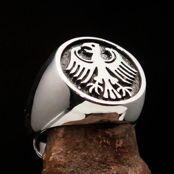 Nicely crafted Men's Seal Ring German Eagle Antiqued - Sterling Silver - BikeRing4u