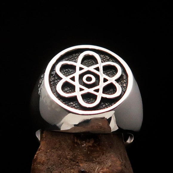 Perfectly crafted Men's Teacher Ring Atom Symbol antiqued - Sterling Silver - BikeRing4u