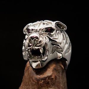 Excellent crafted Men's Predator Ring Tiger red CZ Eyes Sterling Silver 925 - BikeRing4u