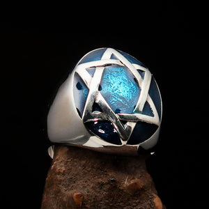Excellent crafted Men's Hebrew Ring oval Blue Star of David - Sterling Silver - BikeRing4u