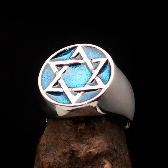 Excellent crafted Men's Pinky Ring Blue Star of David - Sterling Silver - BikeRing4u