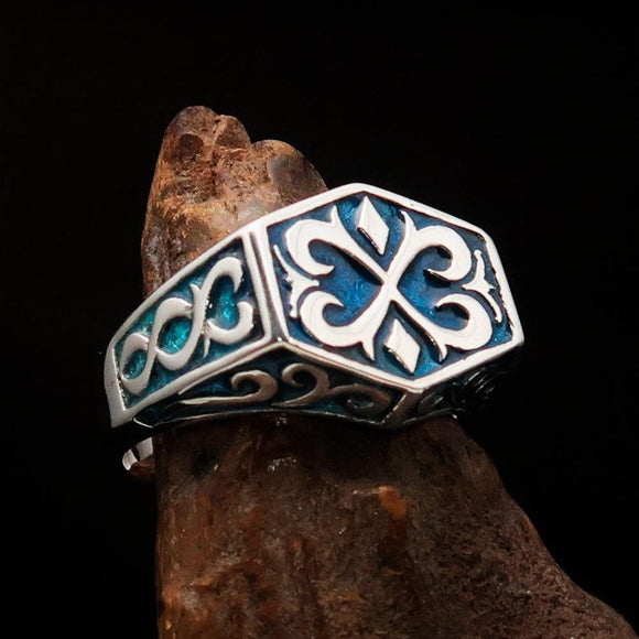 Excellent crafted Men's Medieval Ring Blue Oriental Crest Sterling Silver 925