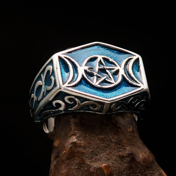 Men's Sterling Silver Ring Blue Crescent Moon Pentagram Star - BikeRing4u
