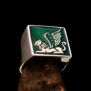 Perfectly crafted Men's Ring winged Lion of Venice Green - Sterling Silver - BikeRing4u